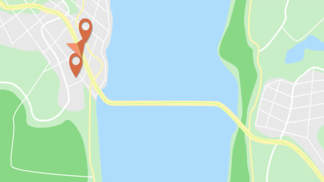 Moving GPS navigator on city map with river. Map, moving navigator marker and checkpoints icon on location. 4K or HD animation