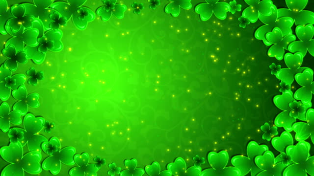 moving green background with a shamrocks - marzo video stock e b–roll
