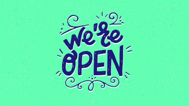 Moving hand drawn phrase We are Open with twirls