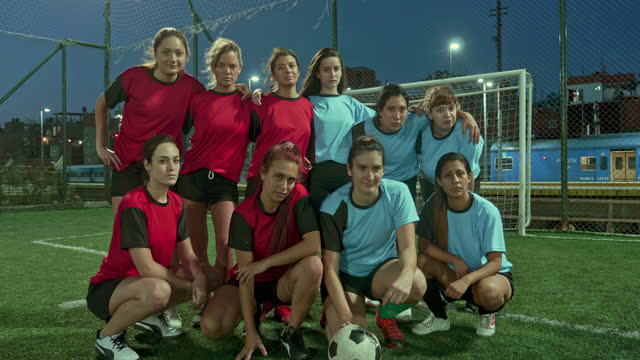 Moving Image Video Portrait of smiling Female footballers
