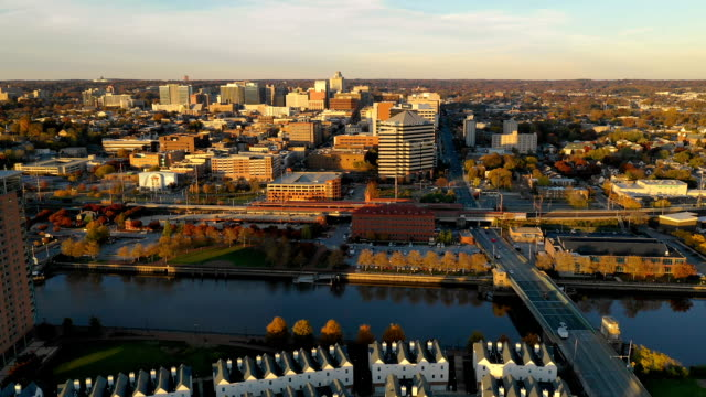 Moving in Over Cristina River and Downtown City Skyline Wilmington Delaware