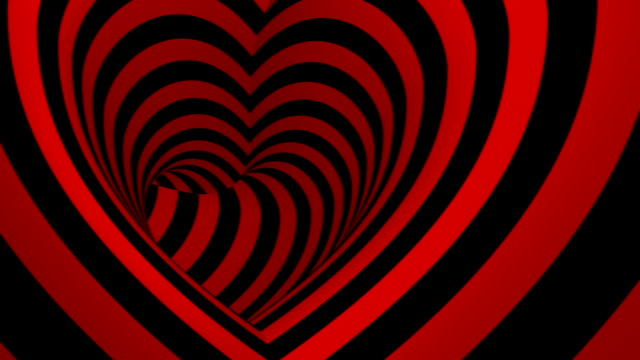 Moving Inside Heart Shaped Tunnel