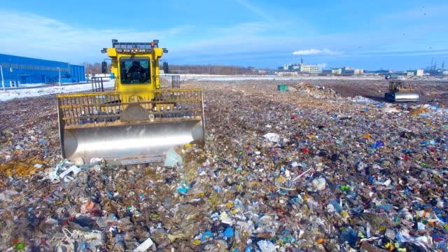 Moving landfill truck. Enviromet pollution concept. video