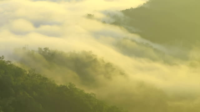 Moving Mist over Mountains at sunrise video