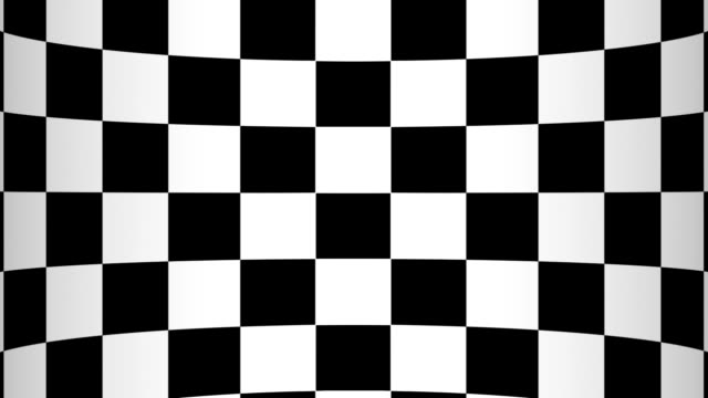 moving of a chessboard a background bent in the form of the screen, black and white geometric design. - a quadri video stock e b–roll