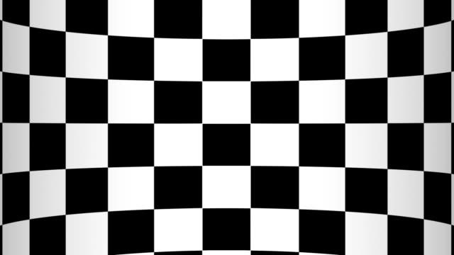 umzug von einem schachbrett einen hintergrund gebogen in form des bildschirm, schwarze und weiße geometrischen designs. - karo stock-videos und b-roll-filmmaterial