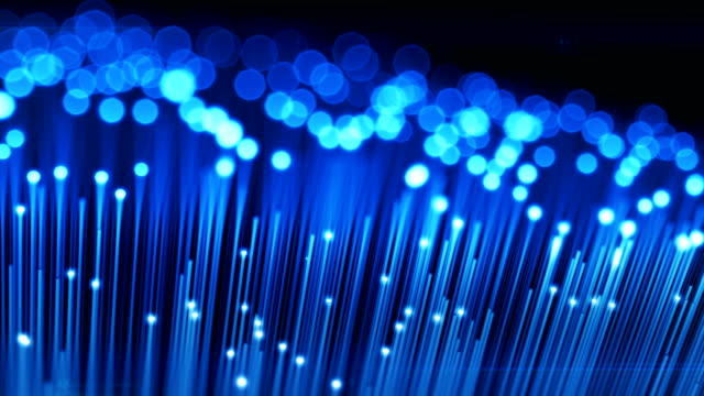 Moving over Optical Fibers with Flashing Light Signals. Technology Concept 3d animation. Blur with DOF. video