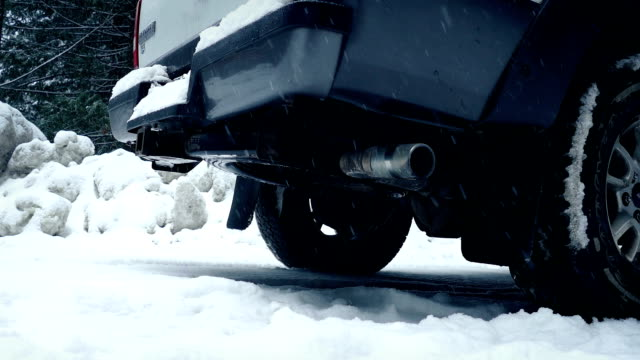 Moving Past Truck In Snowy Landscape video