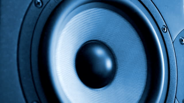 Moving professional music studio monitor. Close-up. video