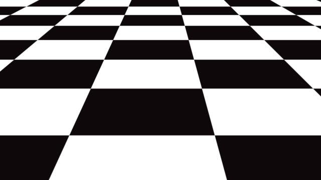 bewegte nahtlose hintergrundekarte schachbrettmuster in der perspektive, schwarz-weiß geometrische design. - karo stock-videos und b-roll-filmmaterial