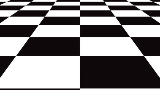 moving seamless background chessboard pattern in perspective, black and white geometric design. - a quadri video stock e b–roll