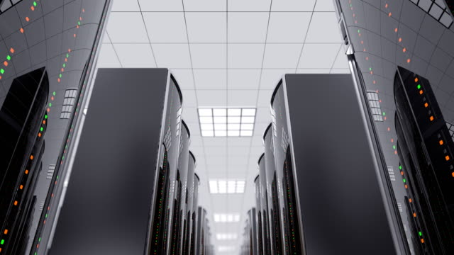 Moving slow between server racks in datacenter 3d animation of a slowly movement through the server room between server racks in world wide cloud dataceneter, concept of data store in the room of globe hosting provider, seamless loop server room stock videos & royalty-free footage