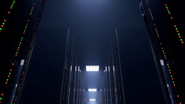 Moving slow through dark server room datacenter 3d animation of a slowly movement through a dark server room between server racks in world wide cloud dataceneter, concept of data store in the room of globe hosting provider, seamless loop server room stock videos & royalty-free footage