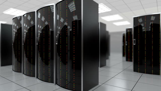 Moving slowly through server room in datacenter 3d animation of a slowly movement through the server room in world wide cloud dataceneter, concept of data store in the room of globe hosting provider. All data is stored in datacenter, seamless loop server room stock videos & royalty-free footage