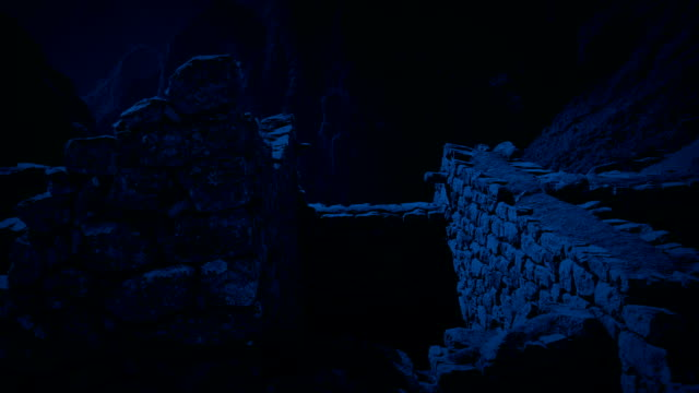 Moving Through Ancient Building Ruins In The Moonlight Slowly moving through old ruin at night lit up in the moonlight old ruin stock videos & royalty-free footage
