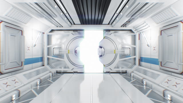 Moving Through the Abstract Spaceship Tunnel to Opening Gateway. 3d Animation with Alpha Mask. Beautiful Futuristic Interior of Spaceship with Opening Door to White Light.