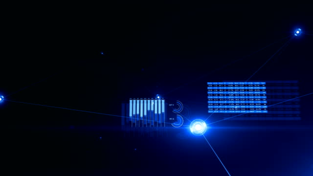 vídeos de stock e filmes b-roll de moving through the digital growing blue network and data connections. looped 3d animation with graphs, flashes and flares. business and technology concept. - parceria