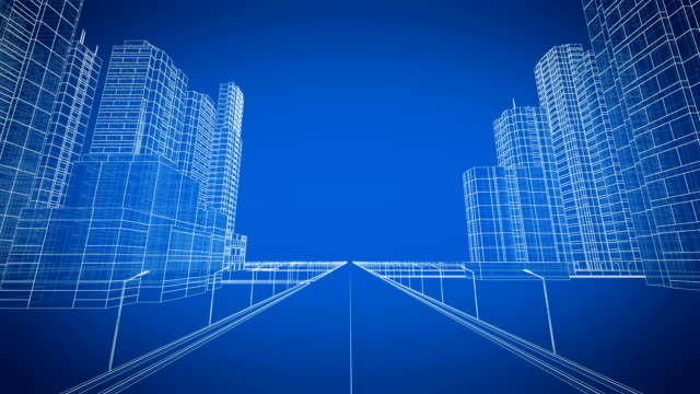 moving through the growing modern city digital 3d blueprint. construction and technology concept. blue color 3d animation. - international architecture stock videos & royalty-free footage