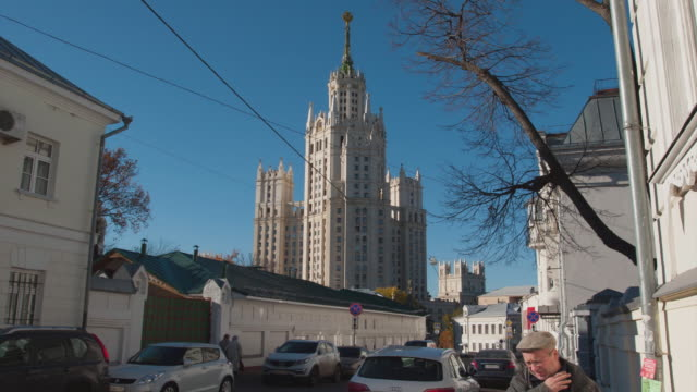 Russia. Moscow - 2014: TL 4K Moving to the Kotelnicheskaya Embankment Building video