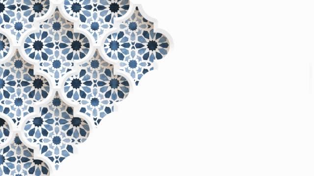 flytta traditionella arabiska mönster med prydnadsgeometriska stjärnor, arabesque genom vita dekorativa moské fönster. vit bakgrund. ramadan, eid ul adha grafisk animation, loopable islamisk design. - eid al fitr bildbanksvideor och videomaterial från bakom kulisserna