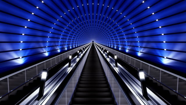 moving up on a futuristic escalator. - escalator video stock e b–roll