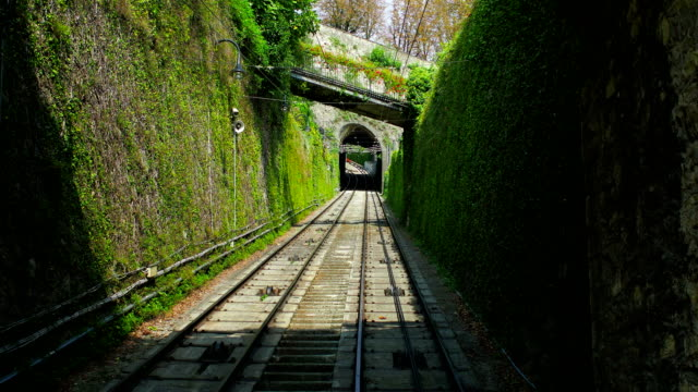Moving Up on Funicular to Bergamo Old City, Lombardy, Italy video