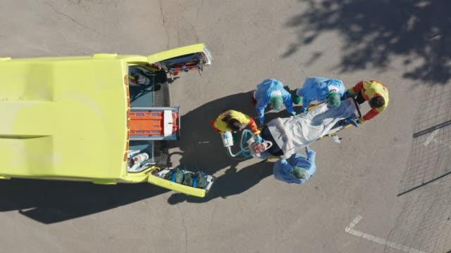 Moving up video of ambulance bringing senior patient to Hospital