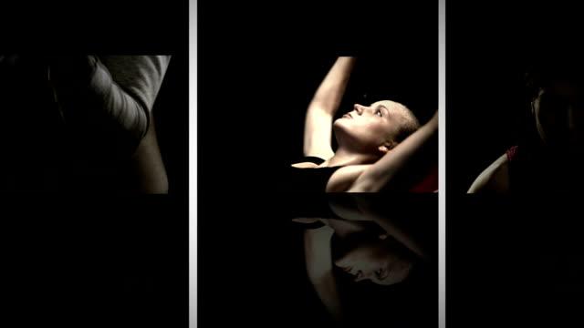 Moving pared de videos de mujeres haciendo ejercicios - vídeo