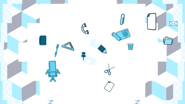 Moving white grey and blue shapes and office objects