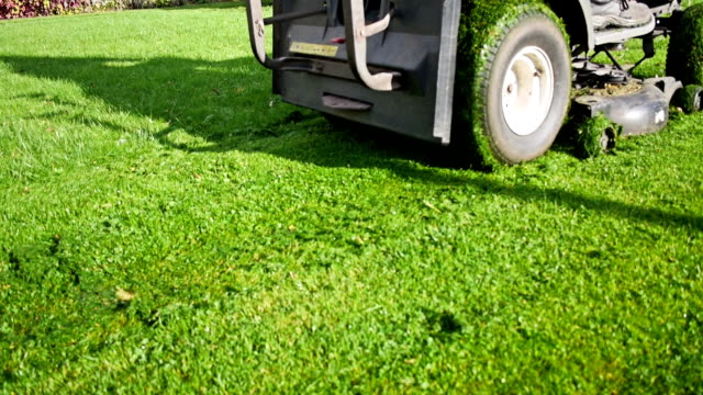 mowing lawn with a riding mower video