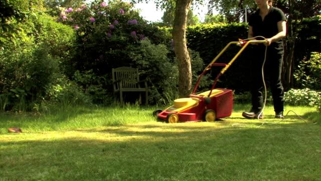 falciare il prato - giardino pubblico giardino video stock e b–roll