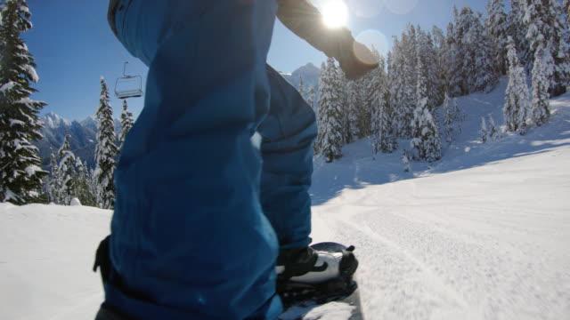 シュクサン山の背景を持つマウントベーカースノーボードカービングPOV ビデオ