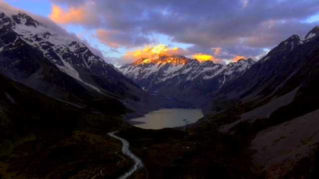 Mt Cook Aerial view at Dusk