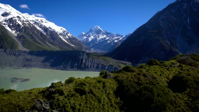 Mt Cook, New Zealand - Aerial view by drone flying over Hooker valley track video