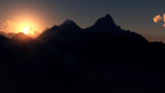 Mt Everest or Chomolungma at sunrise. video
