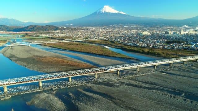 空からの富士山と富士川 - 富士山点の映像素材/bロール