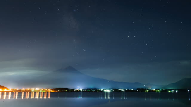 Mt. Fuji at Lake Kawaguchi with milkyway, Japan. 4k timelapse – film