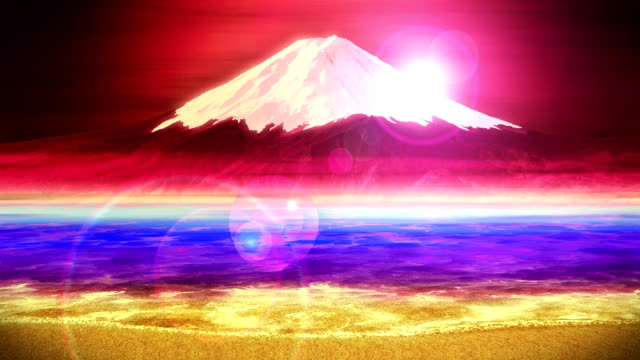 Mt Fuji from Lake, Traditional Japanese New Year, Loop Animation, video
