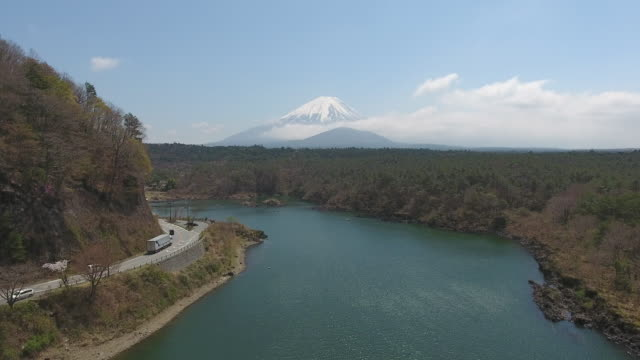 Mt. Fuji From Shoji Lake with Blue Sky, Fuji, Japan. Aerial Video