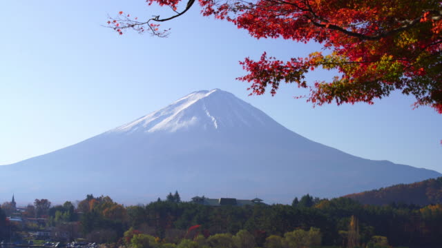 Mt. Fuji in autumn with red maple leaves at Kawaguchigo lake Japan