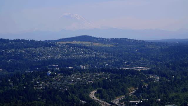 Mt Rainier Helicopter Aerial Over Bellevue Washington