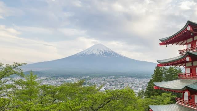富士山曇りの日 4 k で時間の経過 - 富士山点の映像素材/bロール