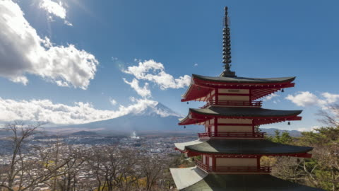 Mt.Fuji with red pagoda time lapse Mt.Fuji with Chureito pagoda public temple in sunny day of autumn time lapse japan stock videos & royalty-free footage