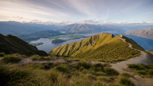 Mt.Roy's peak trekking tract in wanaka lake , new zealand , Time Lapse movement video