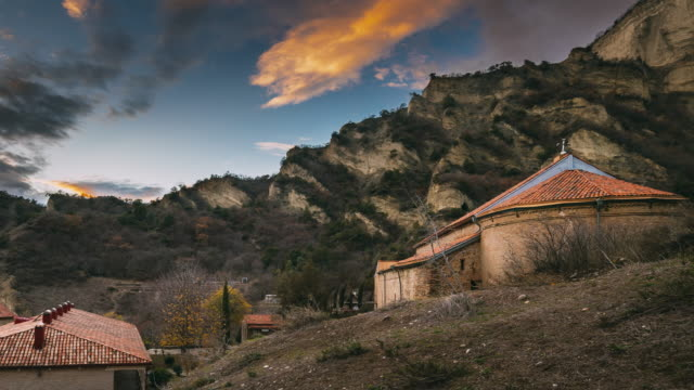 Mtskheta, Georgia. Shio-Mgvime Monastery. Upper Church Of Holy Virgin Or Theotokos, Central Part Of Medieval Monastic ShioMgvime Complex In Limestone Canyon In Autumn Sunset