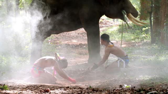 vídeos de stock e filmes b-roll de muay thai prepare for battle. muay thai (thai boxing) - boxe tailandês