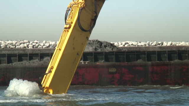 HD: Mud Dredged, Dug, Scooped -- Dropped, Dumped On Barge video