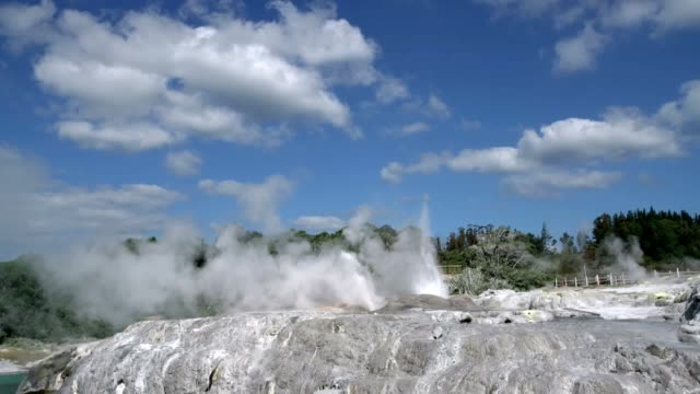 Mud volcanoes and hot lakes Rotorua in New Zealand. Underground source of natural hot water video