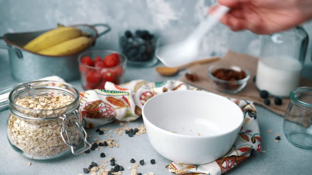 Muesli Bowl With Fresh Blueberries, Strawberries and Milk: Adding Cereals