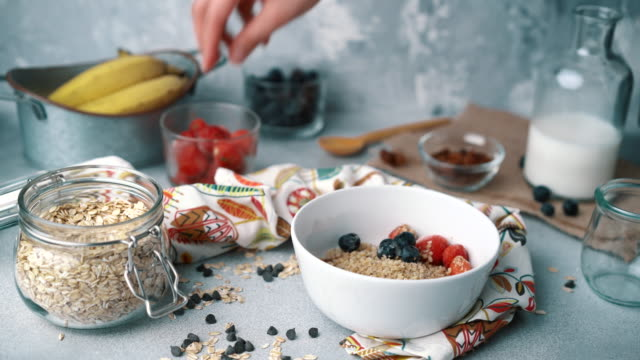Muesli Bowl With Fresh Blueberries, Strawberries and Milk: Adding Strawberries